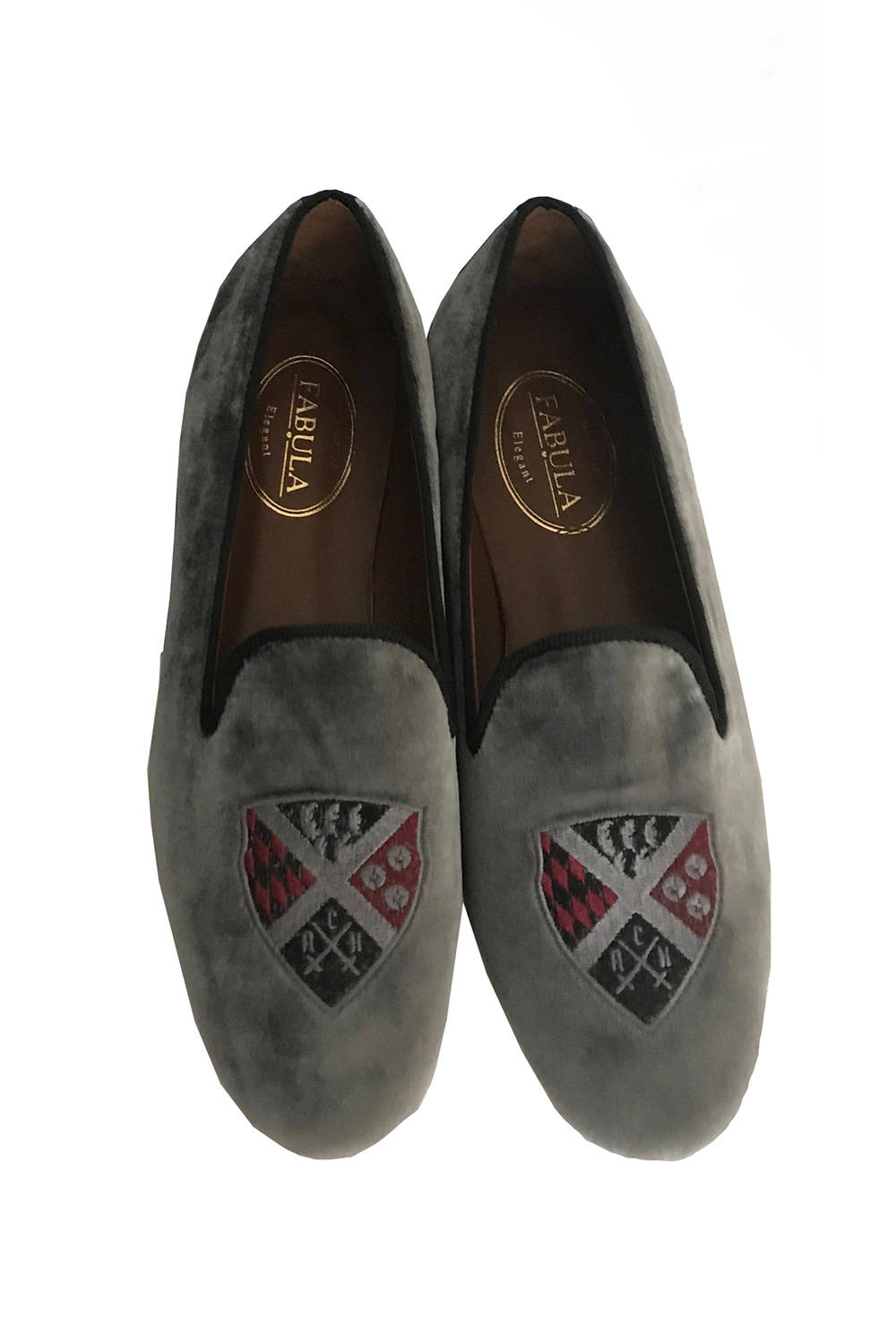 gray velvet slippers for men with a burgundy embroidery
