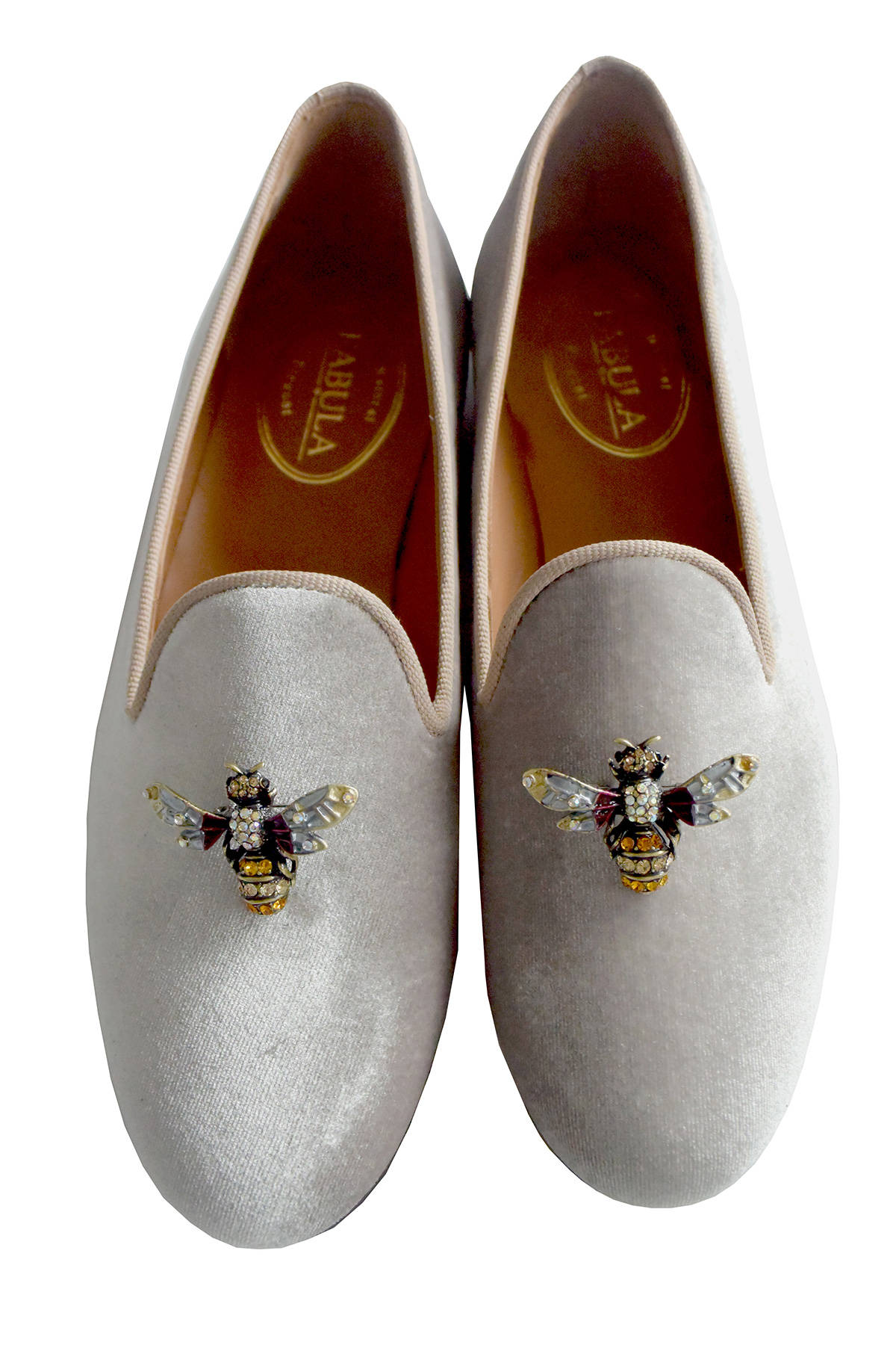 gray bespoke velvet slippers with bee brooches