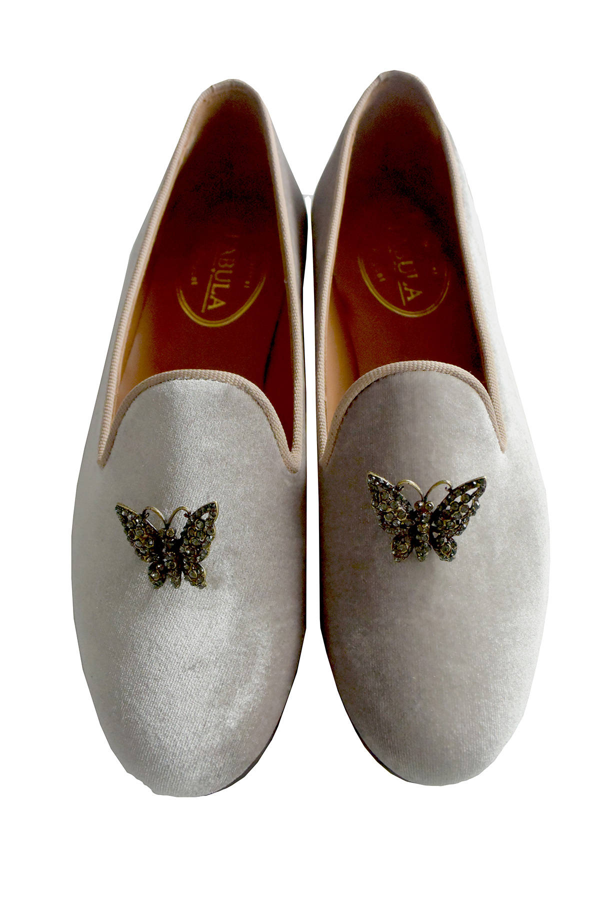 gray bespoke velvet slippers with butterfly brooches