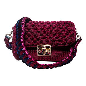handmade burgundy crochet bag with a knitted strap