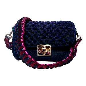 handmade navy crochet bag with a burgundy knitted strap