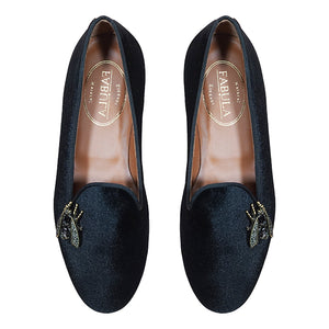 handmade black velvet mules with brooches for women