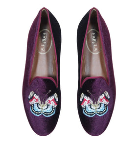 handmade purple slippers with a butterfly embroidery for women