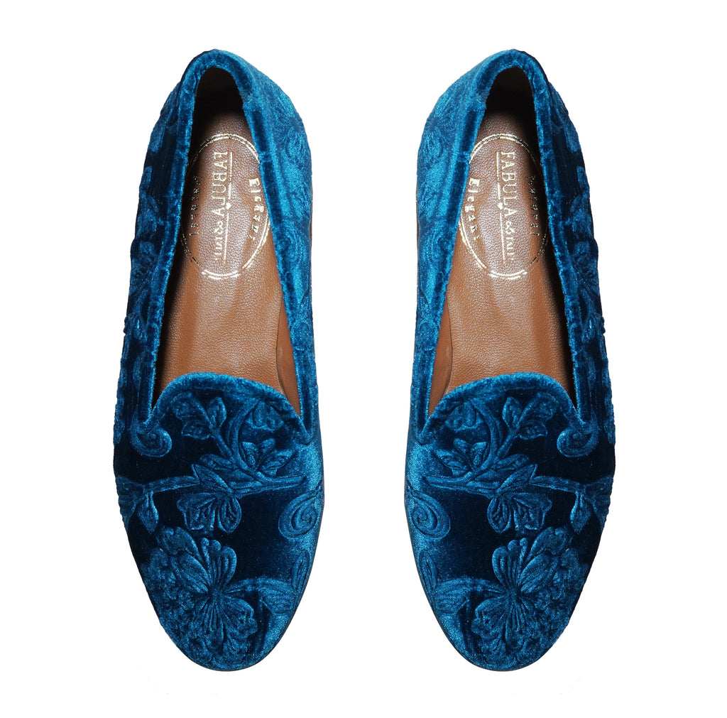 turquoise velvet slippers for women with flowers