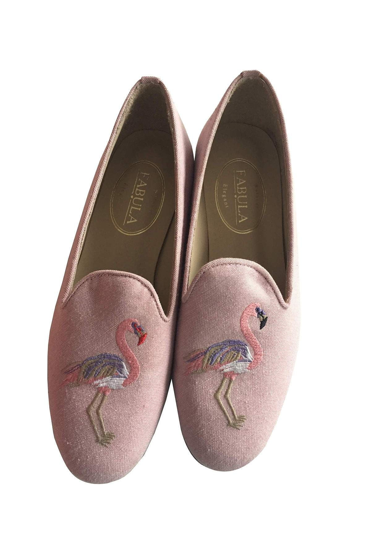 pink linen slippers with a flamingo embroidery for women
