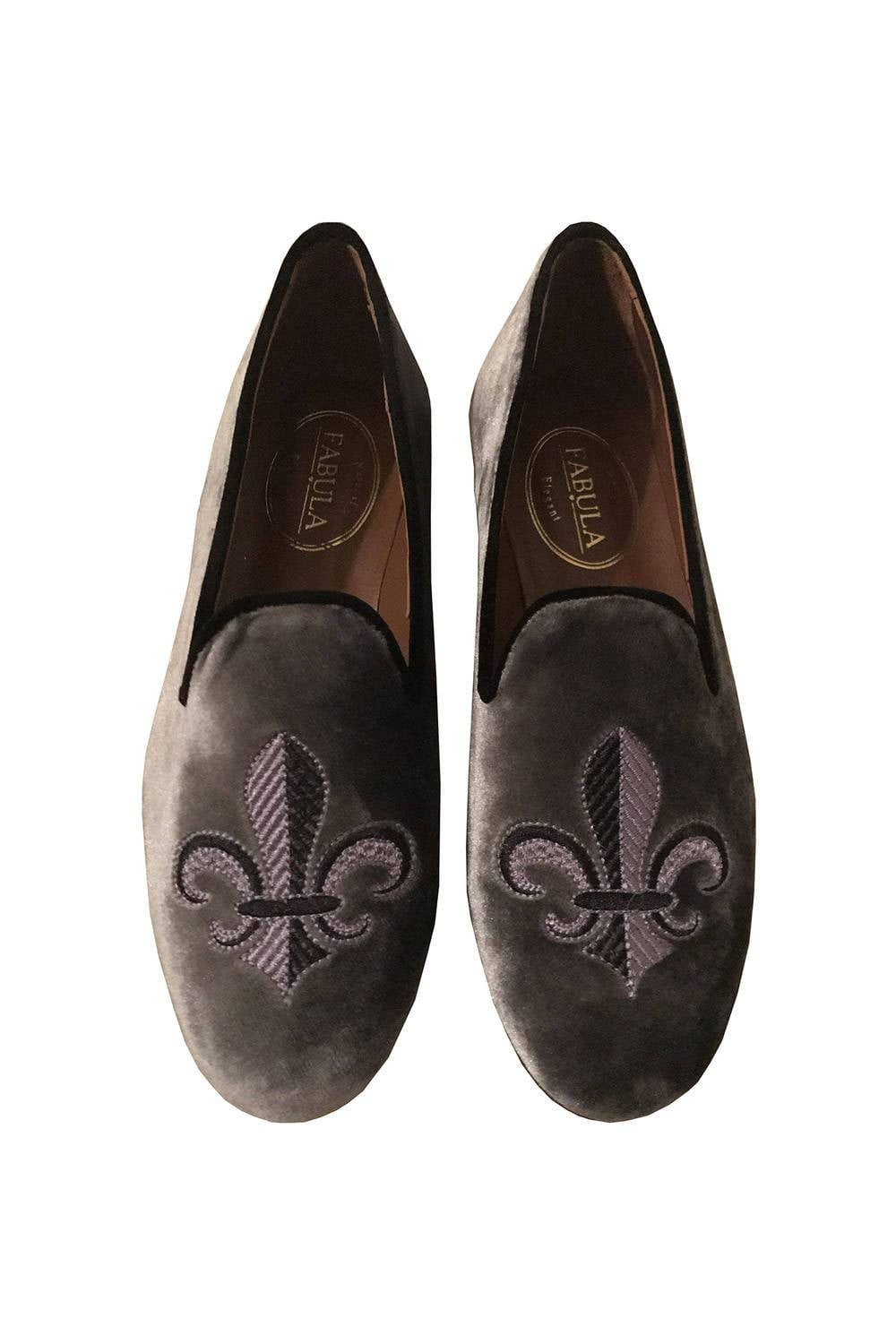 gray velvet slippers with a fleur de lis emrbroidery