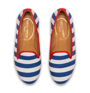 mother and daughter linen shoes with white and navy stripes