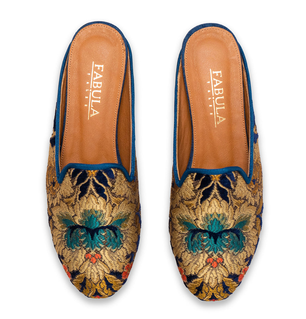 handmade open back slippers with a golden embroidery