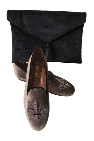 gray prince albert slippers with fleur de lis embroidery