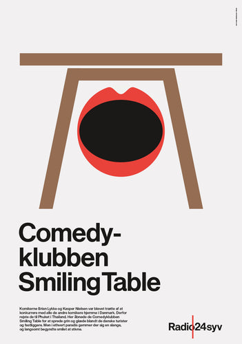 Comedyklubben Smiling Table - Radio24syv plakat