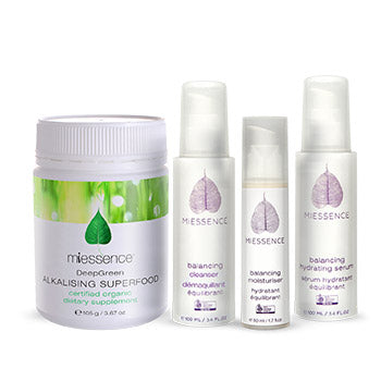 Balancing skin care essentials and Deep Green Alkalising Superfood - MIESSENCE