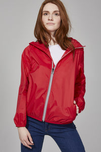 Red Full Zip Packable Rain Jacket
