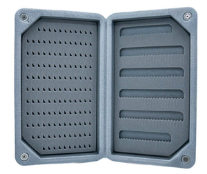 Mayfly Printed Lycra Floating Foam Fly Box-Gray & Teal