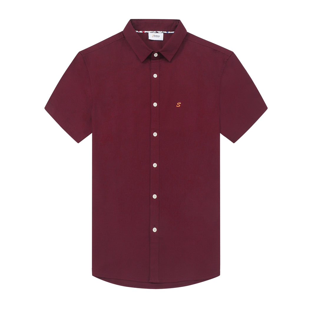 Burgundy Oxford S/S Shirt