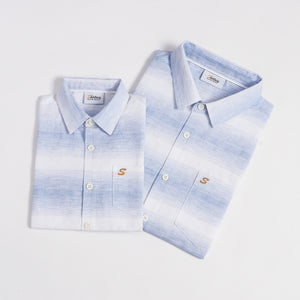 Mini Blue Spaced Dye Stripe S/S Shirt (Daddy & Son)