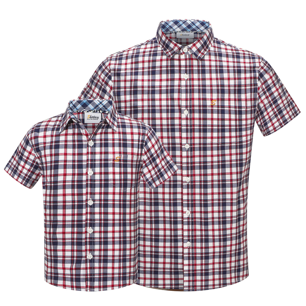 Red Western Check S/S Shirt (Daddy & Son)