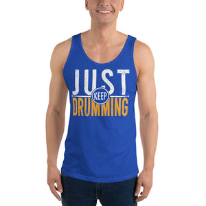 Just Keep Drumming Percussion Unisex Tank Top-Marching Arts Merchandise-Marching Arts Merchandise
