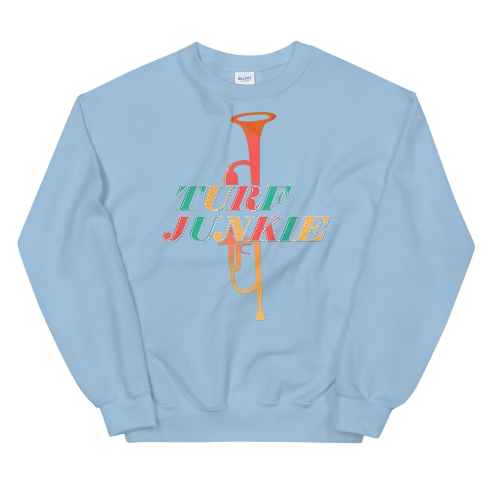 Turf Junkie Trumpet Marching Band Unisex Sweatshirt-Marching Arts Merchandise-Light Blue-S-Marching Arts Merchandise