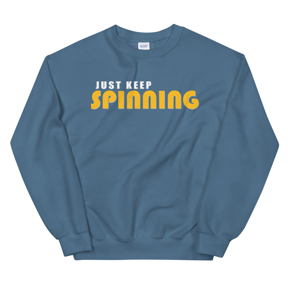 Just Keep Spinning Unisex Sweatshirt-Marching Arts Merchandise-Indigo Blue-S-Marching Arts Merchandise