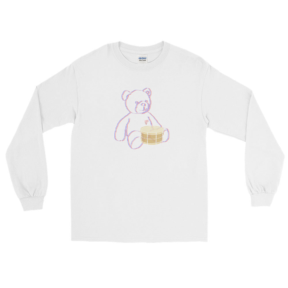 Neon Teddy Snare Long Sleeve Shirt-Marching Arts Merchandise-White-S-Marching Arts Merchandise