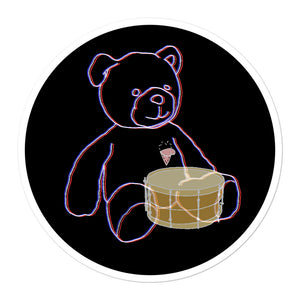 Neon Teddy Snare Percussion Bubble-Free Stickers-Stickers-Marching Arts Merchandise-5.5x5.5-Marching Arts Merchandise