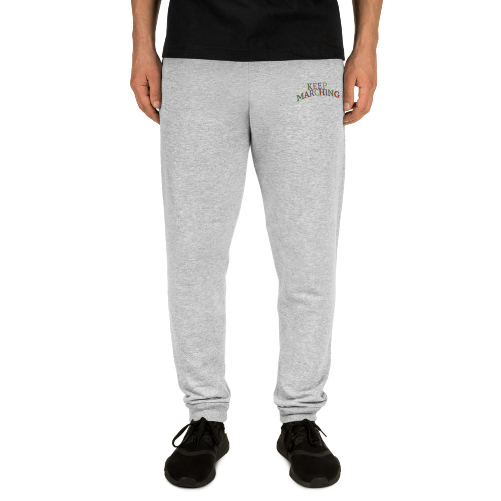 Keep Marching Embroidered Unisex Joggers-Marching Arts Merchandise-Marching Arts Merchandise