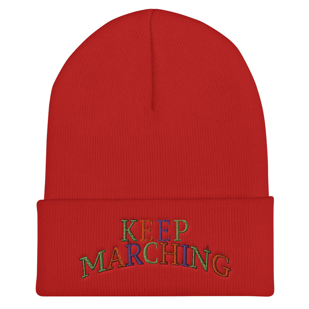 Keep Marching Cuffed Beanie-Marching Arts Merchandise-Red-Marching Arts Merchandise