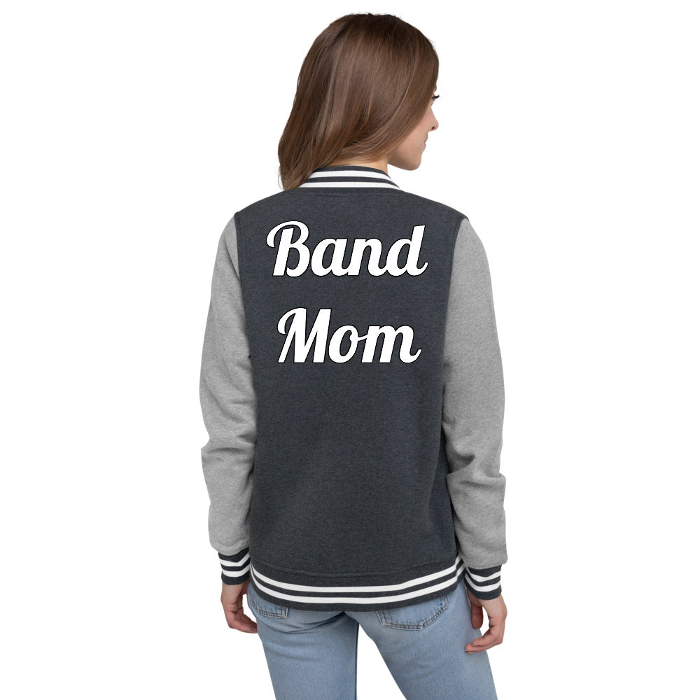 Band Mom Band Parent Women's Letterman Jacket-Jacket-Marching Arts Merchandise-S-Marching Arts Merchandise