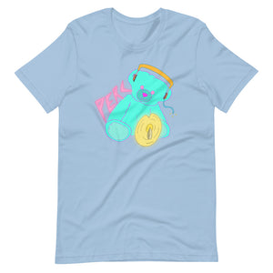 Neon Teddy Cymbal Percussion Short-Sleeve Unisex T-Shirt-Marching Arts Merchandise-Light Blue-XS-Marching Arts Merchandise
