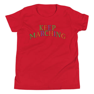 Keep Marching Youth Short Sleeve T-Shirt-Marching Arts Merchandise-Red-L-Marching Arts Merchandise