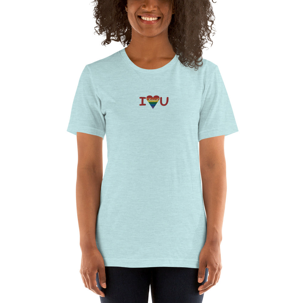 I Heart You Band Embroidered Unisex T-Shirt-Marching Arts Merchandise-Heather Prism Ice Blue-XS-Marching Arts Merchandise