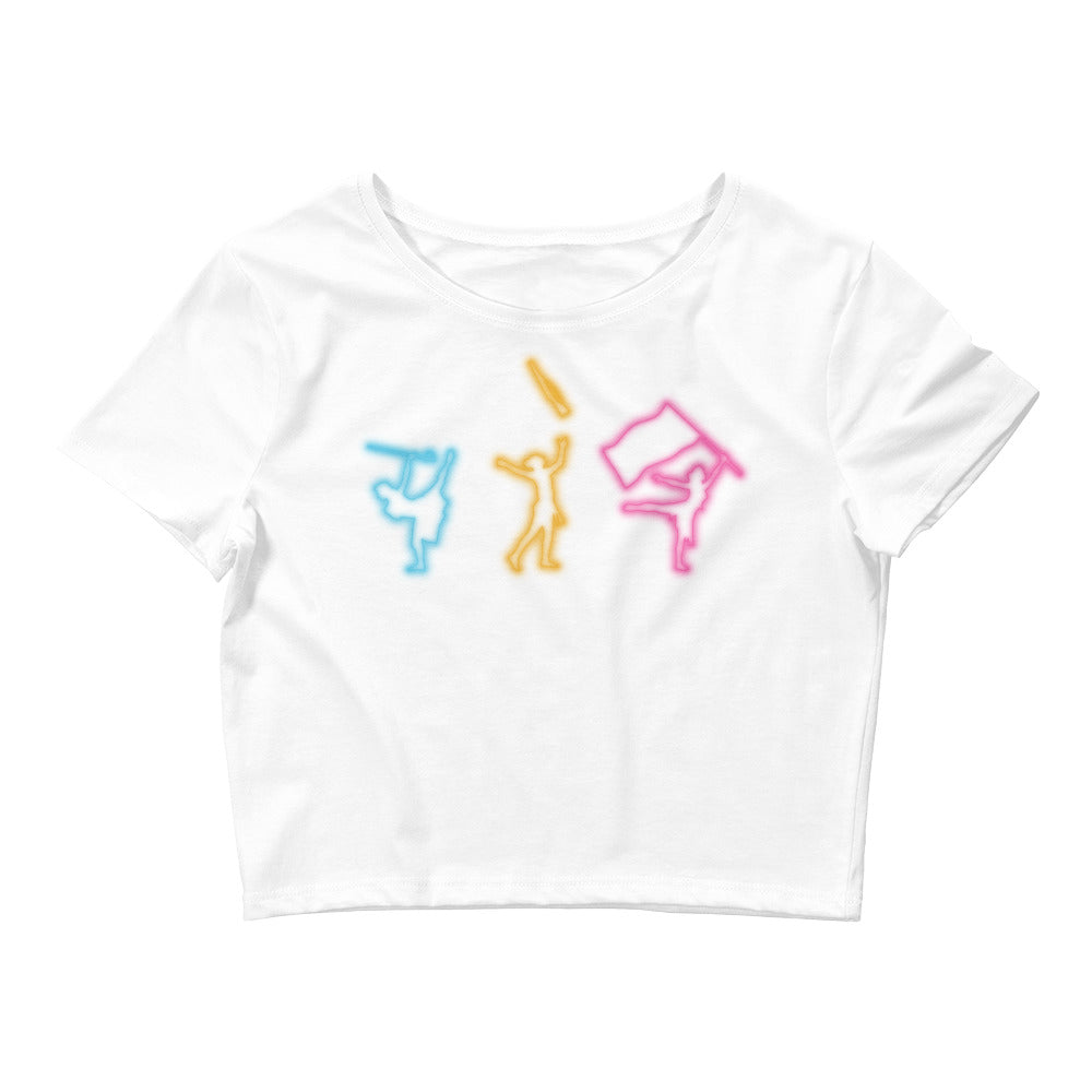 Neon Color Guard Women's Crop Tee-Marching Arts Merchandise-White-XS/SM-Marching Arts Merchandise