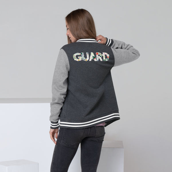 Color Guard Floral Women's Letterman Jacket - Marching Arts Merchandise -  - Marching Arts Merchandise - Marching Arts Merchandise - band percussion color guard clothing accessories home goods