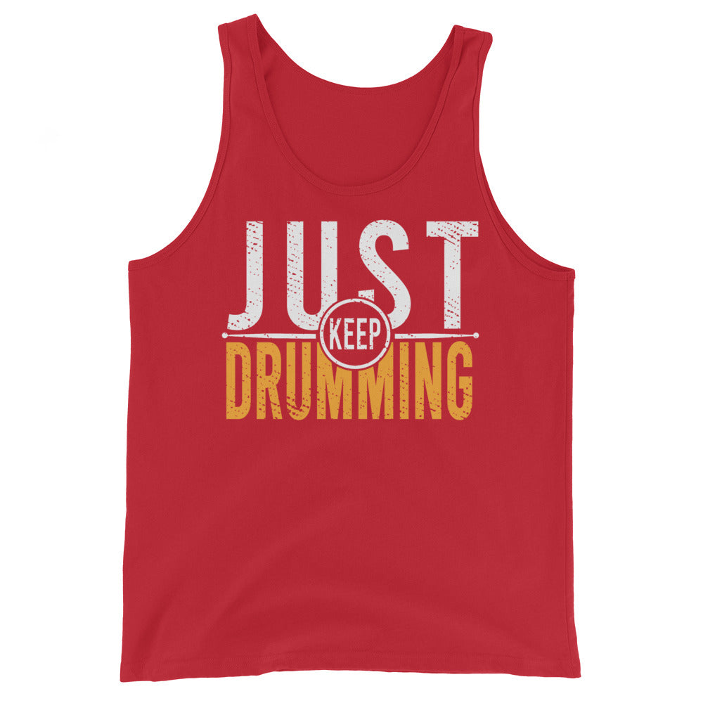 Just Keep Drumming Percussion Unisex Tank Top-Marching Arts Merchandise-Red-XS-Marching Arts Merchandise