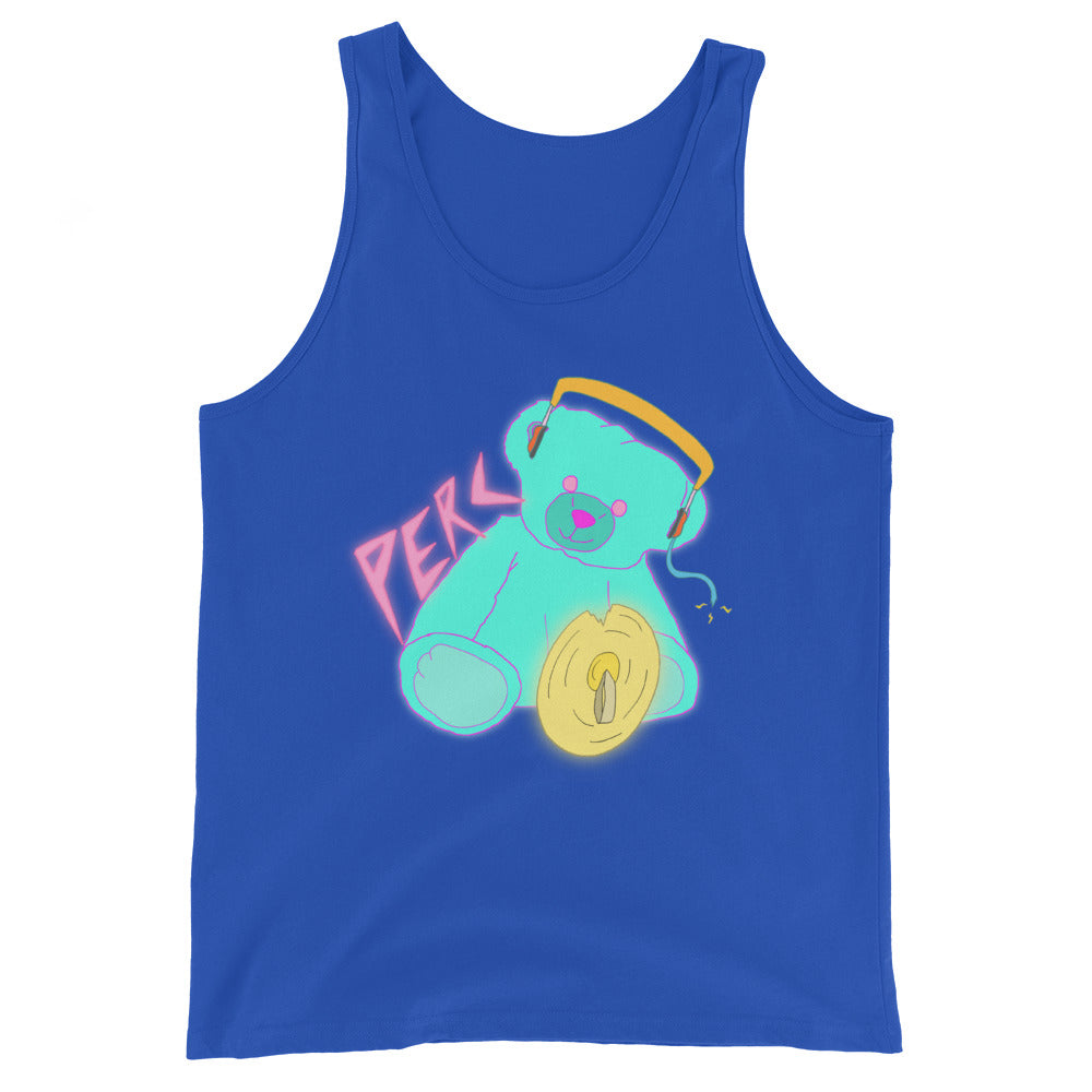Neon Teddy Cymbal Percussion Unisex Tank Top-Marching Arts Merchandise-True Royal-XS-Marching Arts Merchandise