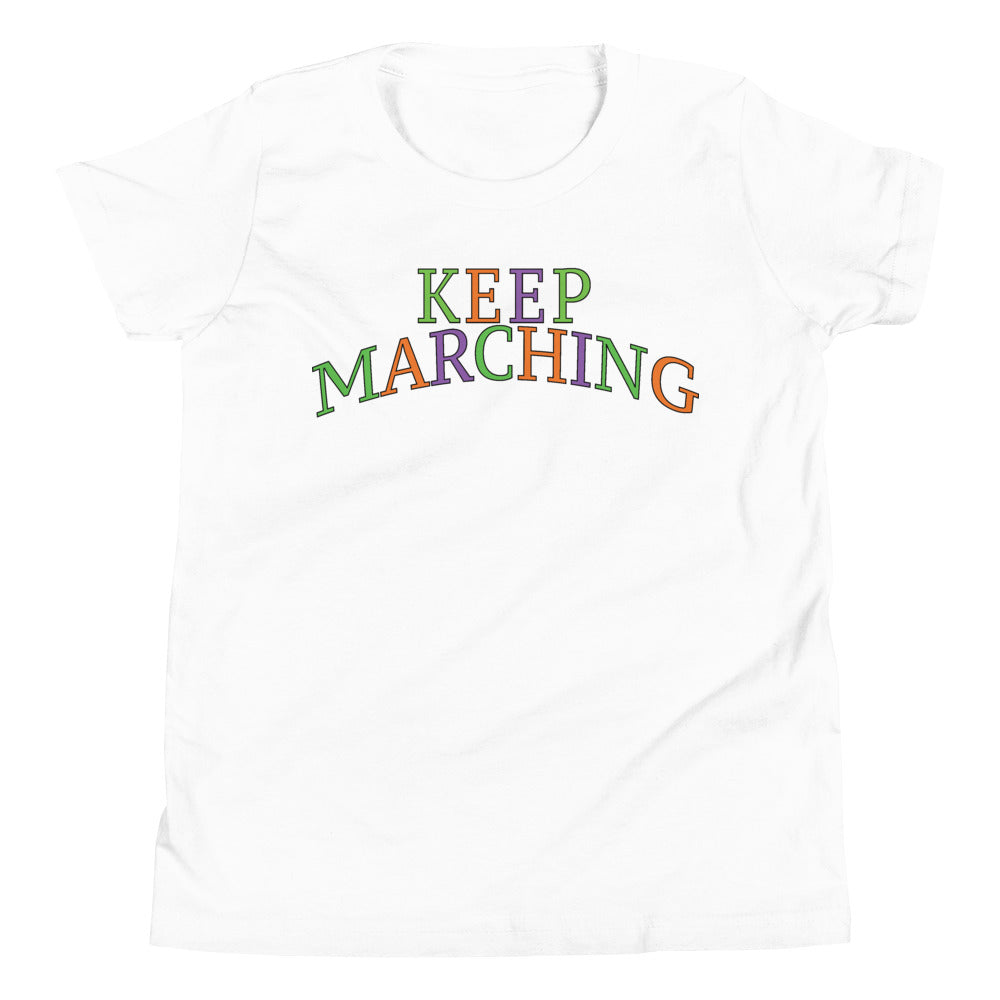 Keep Marching Youth Short Sleeve T-Shirt-Marching Arts Merchandise-White-L-Marching Arts Merchandise