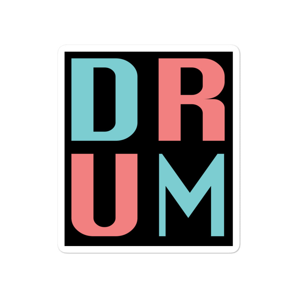 DRUM Bubble-Free Stickers-Marching Arts Merchandise-4x4-Marching Arts Merchandise