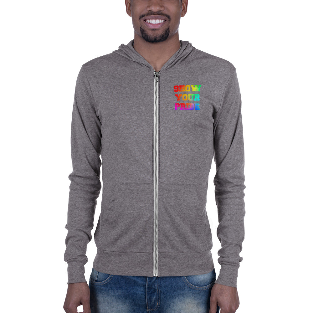 Show Your Pride Marching Band Unisex Zip Hoodie-Hoodie-Marching Arts Merchandise-Grey Triblend-XS-Marching Arts Merchandise