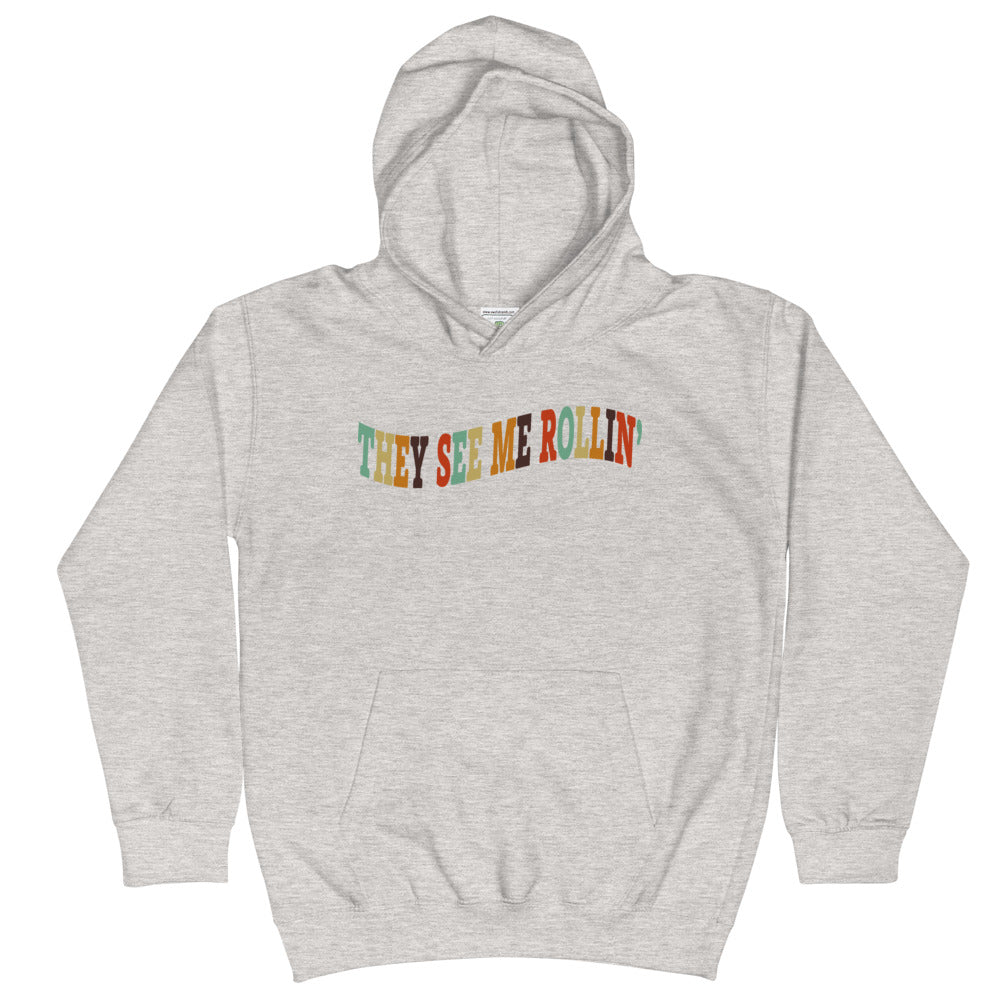 They See Me Rollin' Kids Hoodie-Marching Arts Merchandise-Heather Grey-L-Marching Arts Merchandise
