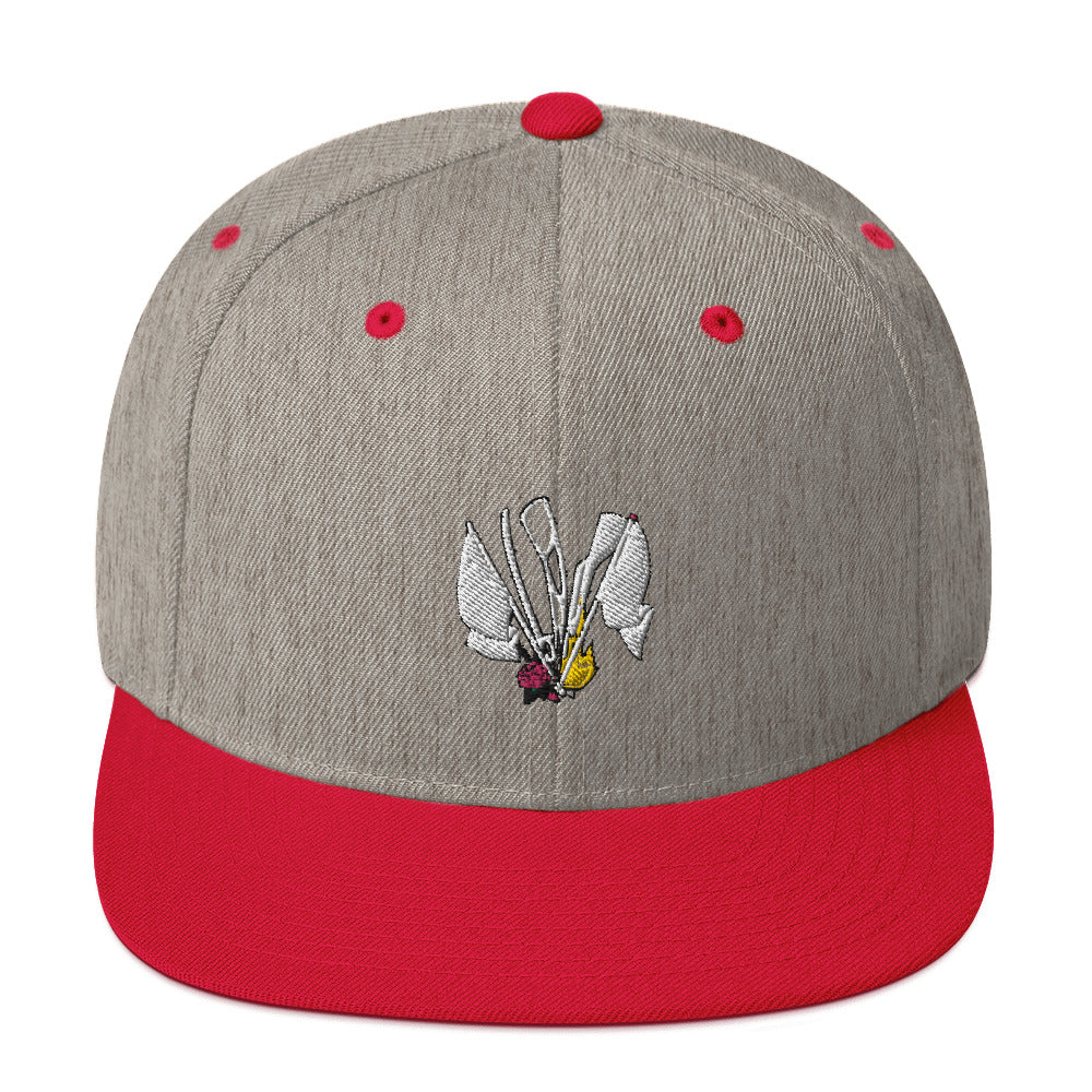 Color Guard Fire Snapback Hat-Marching Arts Merchandise-Heather Grey/ Red-Marching Arts Merchandise
