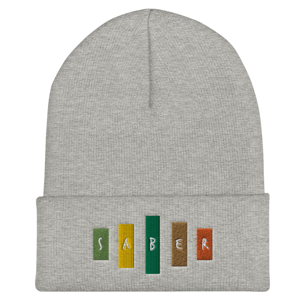 Retro Saber Cuffed Beanie-Marching Arts Merchandise-Heather Grey-Marching Arts Merchandise