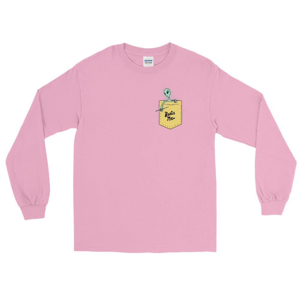 Beat Me Alien Percussion Men's Long Sleeve Shirt-Marching Arts Merchandise-Light Pink-S-Marching Arts Merchandise