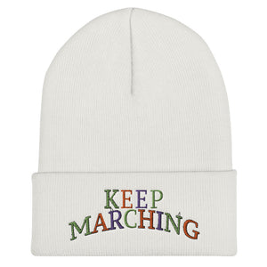 Keep Marching Cuffed Beanie-Marching Arts Merchandise-White-Marching Arts Merchandise