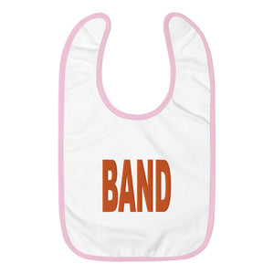 BAND Marching Band Embroidered Baby Bib-Baby Bib-Marching Arts Merchandise-White / Pink-Marching Arts Merchandise