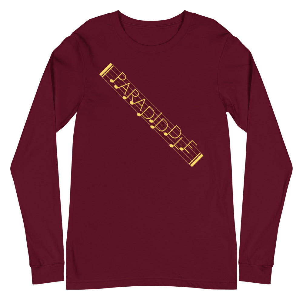 Paradiddle Strap Percussion Unisex Long Sleeve Tee-Marching Arts Merchandise-Maroon-XS-Marching Arts Merchandise