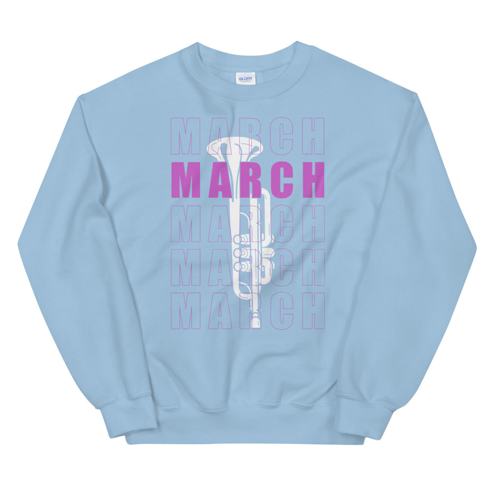March Trumpet Marching Band Unisex Sweatshirt-Marching Arts Merchandise-Light Blue-S-Marching Arts Merchandise