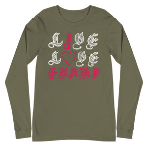 I Heart Color Guard Unisex Long Sleeve Tee-Marching Arts Merchandise-Military Green-XS-Marching Arts Merchandise
