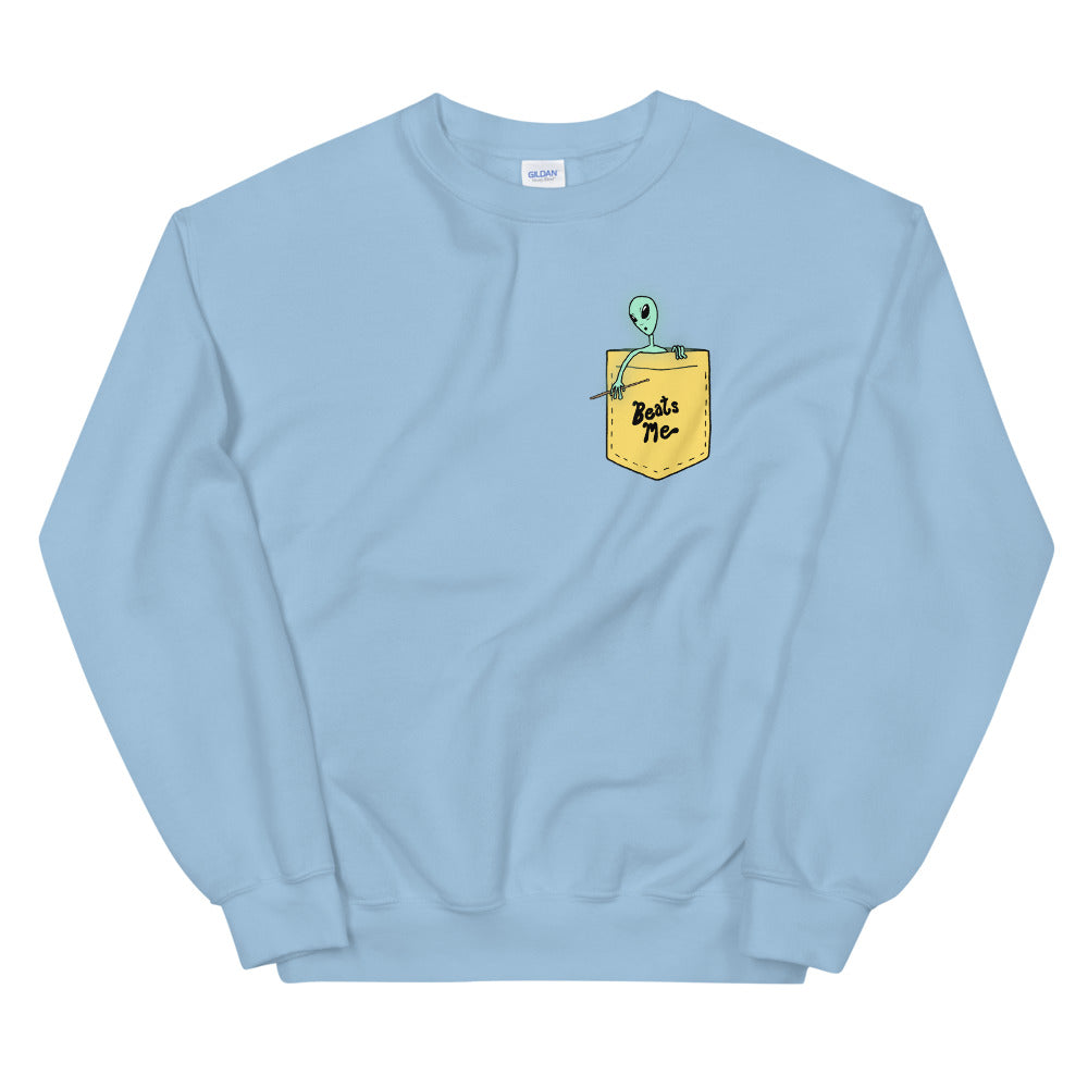 Beats Me Alien Percussion Unisex Sweatshirt-Marching Arts Merchandise-Light Blue-S-Marching Arts Merchandise