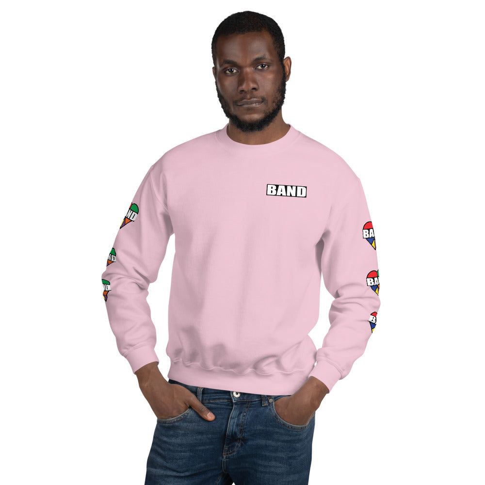 Stained Band Heart Unisex Sweatshirt-Marching Arts Merchandise-Light Pink-S-Marching Arts Merchandise