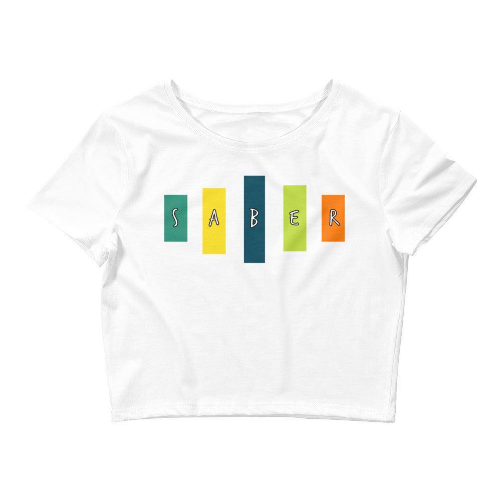 Retro Saber Women's Crop Tee-Marching Arts Merchandise-White-XS/SM-Marching Arts Merchandise